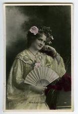 c 1905 British Victorian Edwardian Theater LILY ELSIE w/ Hand Fan photo postcard