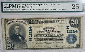 1902 $20 Mapleton, PA Plain Back National Banknote Fr#658 PMG VF 25 CH 11244