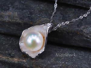 Perlenkette Muschelschal Weiß 925 Sterling Silber Echte Perlen Zuchtperlen