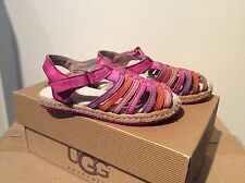 Kids Girls Pink Leather Ugg Gretel Sandals Us Size T6 Uk Size 5