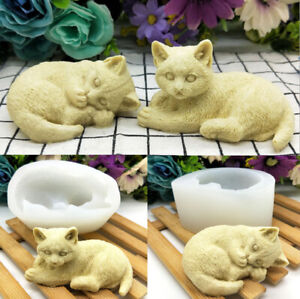 3D Cat Silicone Cake Fondant Sugarcraft Chocolate Baking Mold Soap Candle Mould