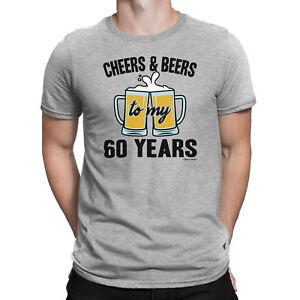 Mens 60th Birthday ORGANIC T-Shirt CHEERS and BEERS to 60 Years Old Funny Gift