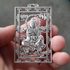 China Miao Silver Carving Lifelike Kwanyin Boddhisattva Rare Lucky Pendant