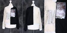 T-28 Schwarz weiß Häkel Kunst Gothic Sweatshirt Pullover Japan Harajuku Trend