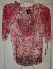Style & Co Womens Blouse Top Size S Small Organic Blooms