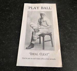"Antique Original 1900s ""Ideal Cleat"" Baseball Folding Ad Racine Wisconsin"