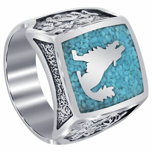 Men's Sterling Silver Southwestern Turquoise Gemstone Inlay Howling Wolf Ring