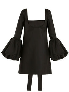 Valentino bell-sleeve silk-crepe black dress IT 42 UK 10 WORN ONCE RRP£3100