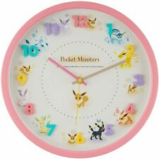Pokemon Wall Clock Pink Eevee Friends Continuous Second Hand