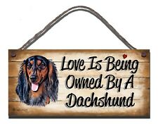 WOODEN SIGN DOG LONG HAIRED DACHSHUND  PET LOVER  GIFT PRESENT