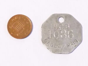 8 sided N.C.B. Cadeby Main 1086 - Tally Token Pit - Lamp Check #C32