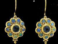 E106 Genuine 9ct SOLID Yellow Gold NATURAL Sapphire OPAL Blossom Flower Earrings