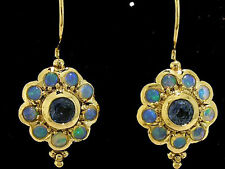 E106 Genuine 9ct SOLID Yellow Gold NATURAL Sapphire OPAL Blossom Earrings