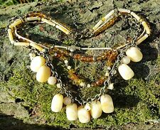 Yellow Calcite/round cut Swarovski Beads BoHo Style/Tribal Necklace 28cm length