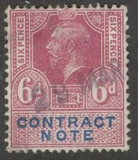 King George V - 6d Lilac - Contract Note - Used