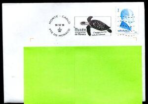 sea turtle postmark on cover Monaco 2018