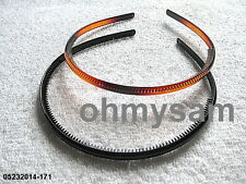 2 NEW MULTI COLOR THIN PLASTIC HARD HEADBAND/COMB / KOREAN / MULTI COLOR 1/4""