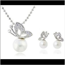Fashion Silver Plated Rhinestone Pearl Butterfly Necklace Earrings  Jewelry Set