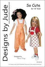 """So Cute Overall & Skirtall Doll Clothes Sewing Pattern 14"""" Kish Dolls"""