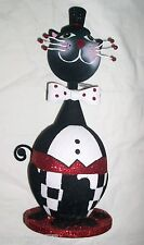Black White GENTLEMAN CAT TUX Top HAT BOW TIE BOBBLE HEAD FIGURINE Figure Tuxedo