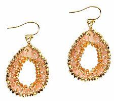 Earrings Handmade Grace Of New York Gold Dangle Fashion Pink Crystal Pear Drop
