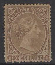 FALKLAND ISLANDS SG4 1878 1/= BISTRE-BROWN MTD MINT