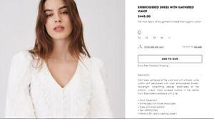 Maje EMBROIDERED DRESS WITH GATHERED WAIST Size 36 US XS/S
