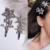 Flash Rhinestone Snowflake Star Hair Clip Temperament Headwear Girls Jewelry