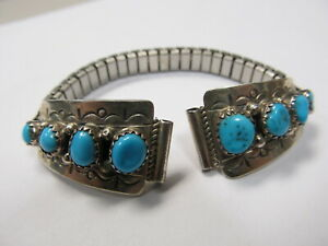 """L H TURQUOISE STERLING LADIES STAINLESS STRETCH WATCH BAND 5 1/2"""" XLNT COND"""