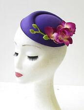 Violet Fleur Orchidée Casemate Mini Chapeau Bibi Vintage Rockabilly 1950s