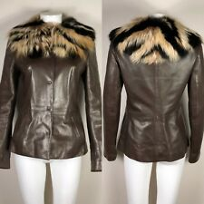 Rare Vtg Dolce & Gabbana Fur & Brown Leather Jacket 40 S