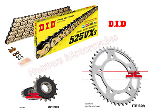 DID Gold X-Ring Chain and JT Quiet Sprocket Kit for Honda CB650F (2014 to 2018)