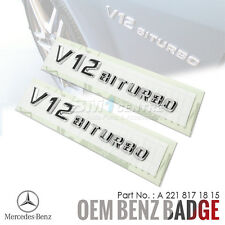 2x GENUINE OEM MERCEDES BENZ V12 BITURBO CHROME SIDE FENDER EMBLEM BADGE AMG