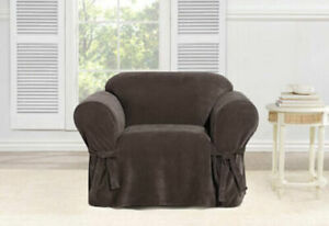 Sure Fit Every Day Chenille Chair Slipcover in Brown Box Cushion NEW