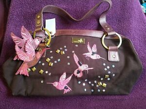 Butterfly By Matthew Williamson Handbag, Brown Rose Gold Brass Pink Hummingbird