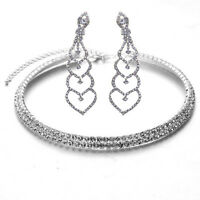 Diamante Shiny Silver White Rhinestones Necklace Choker Set Drop Earrings S787