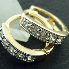 HOOP HUGGIE EARRINGS 18K YELLOW & WHITE G/F GOLD GENUINE DIAMOND SIMULATED STYLE