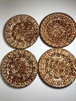 Stangl Town and Country Brown Set of 4 Dinner Plates Spongeware 10 5/8 inches