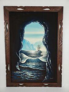 Vintage Framed Velvet Nautical Oil Painting Viking Ship Ocean Cave Signed Muran