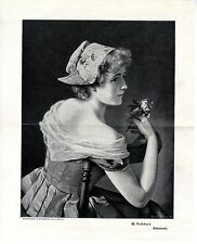 Max Volkhart Koketterie Ein Frauenbildnis mit Blume Historischer Kunstdruck 1900