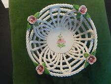"""""""LEVANTE"""" WOVEN PORCELAIN BASKET BOWL WITH ROSES, SPAIN (w/micro-chip-see pic))"""