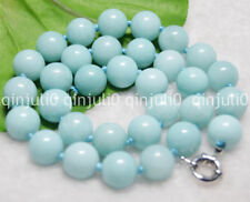 "12MM LIGHT BLUE BRAZILIAN AQUAMARINE GEMS ROUND BEADS NECKLACE 18"" JN555"