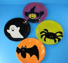 4 Halloween Hand-painted Plates Black Basket With Handle Witch Ghost Spider Bat