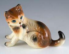 "Vintage Ceramic Calico Cat Licking Paw Figurine 3.5"" High Glossy Finish #04715"