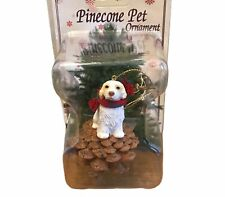 Clumber Spaniel on Red Pinecone Pet Ornament Use Year Round As Decor New