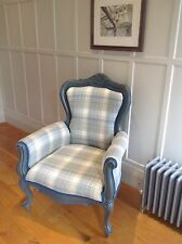 large designer armchair tartan plaid teal piping farrow and ball paintwork