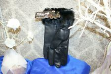 Thinsulate Women's Vintage Black Leather Faux Fur Gloves(2 pair) Size X-Large