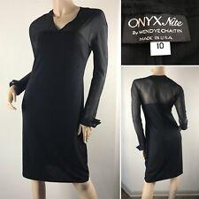 Onyx Nite LBD Black Evening Dress Spandex Sheer LS Jeweled French Cuffs • Sz 10