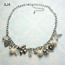 LOVELY WHITE METAL CHAIN WITH CHARMS NECKLACE CHOKER