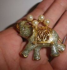 Vintage Circus Elephant Pendant Sparkly exBrooch pearls-NZ Antique Estate